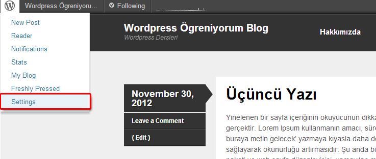 WordPress Ara Yüzünü Türkçe'ye Çevirmek