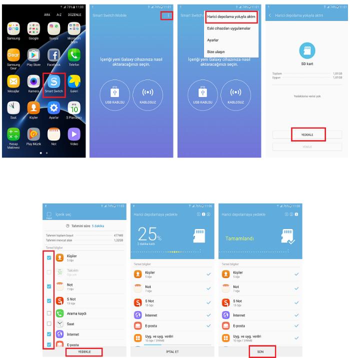 Samsung rehber,resim ve uygulama yedekleme